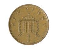 белизна пенни монетки одного предпосылки Стоковая Фотография