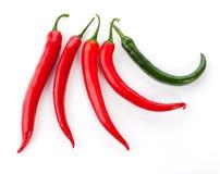 белизна перца chili красная Стоковые Изображения