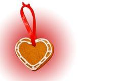 белизна пинка сердца gingerbread печенья предпосылки Стоковое Изображение