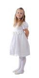 белизна платья изолированная девушкой Стоковая Фотография