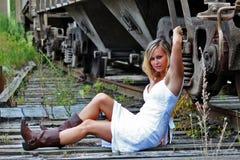 белизна платья модельная Стоковые Фотографии RF