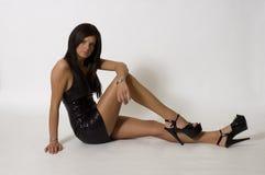 белизна платья предпосылки черная Стоковая Фотография