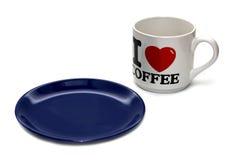 белизна плиты чашки пустая изолированная Стоковое Фото