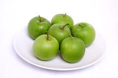 белизна плиты яблока стоковые фотографии rf