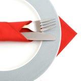 белизна плиты cutlery Стоковая Фотография