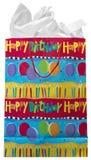 белизна подарка дня рождения мешка счастливая изолированная присутствующая Стоковая Фотография RF