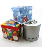 белизна подарка рождества голубых коробок красная Стоковое Фото