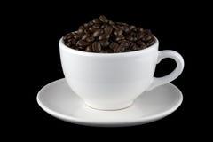 белизна поддонника кофейной чашки фасолей Стоковое Изображение