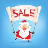 белизна покупкы сбывания девушки рождества предпосылки счастливая Санта Клаус с продажей плаката Вектор, плоский иллюстрация вектора