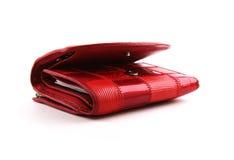 белизна портмона предпосылки красная стоковые фотографии rf