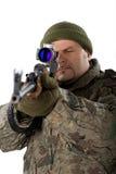 белизна портрета человека пушки Стоковое Изображение