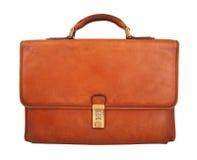 белизна портфеля предпосылки изолированная коричневым цветом Стоковая Фотография RF