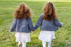 белизна предпосылки изолированная травой 2 девушки близнецов рука об руку идя на луг в парке От задней части и зада Курчавые сест стоковое фото
