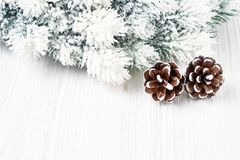белизна рождества предпосылки Ветви ели рождества с украшением Стоковое фото RF