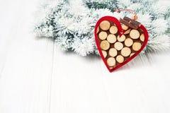 белизна рождества предпосылки Ветви ели рождества с украшением Стоковые Фото