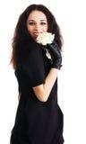 белизна розы брюнет жизнерадостная шикарная Стоковое Фото