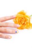 белизна розы ногтей Стоковое фото RF