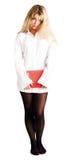 белизна рубашки confused девушки книги красная Стоковое Фото