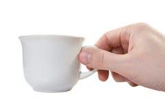 белизна руки чашки стоковое фото rf