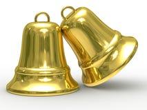 белизна руки 2 золота колокола предпосылки Стоковое Фото