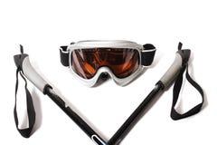 белизна ручки лыжи изумлённых взглядов предпосылки Стоковое Изображение