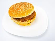 белизна сандвича тарелки тучная Стоковая Фотография RF