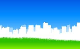 белизна силуэта города Стоковое Изображение RF