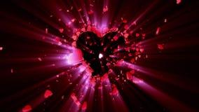 белизна символа красного цвета влюбленности предпосылки розовая Валентайн 3D анимация сток-видео