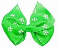 белизна смычка festal изолированная зеленым цветом Стоковые Фотографии RF