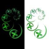 белизна спирали зеленого цвета фрактали предпосылки черная Стоковая Фотография RF