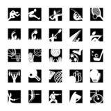 белизна спорта черной иконы установленная Стоковая Фотография RF