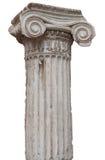 белизна стародедовской колонки греческая ионная изолированная Стоковое Изображение