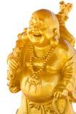 белизна статуи изолята Будды смеясь над Стоковое Изображение