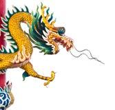 белизна статуи предпосылки изолированная драконом Стоковое Изображение