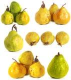 белизна субстрата груши s предпосылки стеклянная сочные яркие ые-зелен и желтые груши на изолированной предпосылке Стоковые Изображения RF
