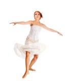 белизна танцора предпосылки с волосами красная стоковые фотографии rf