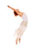 белизна танцора предпосылки с волосами красная Стоковое фото RF