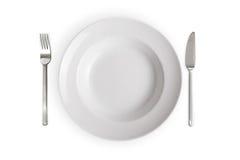белизна тарелки предпосылки пустая изолированная Стоковая Фотография RF