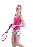 белизна тенниса ракетки девушки милая Стоковое Изображение