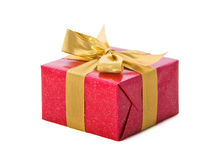 белизна тесемки золота подарка предпосылки красная Стоковое Фото