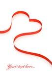 белизна тесемки сердца красная Стоковое Изображение RF