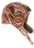 белизна топливозаправщика шлема кожаная Стоковое Фото