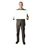 белизна удерживания пустой карточки бизнесмена счастливая Стоковые Изображения
