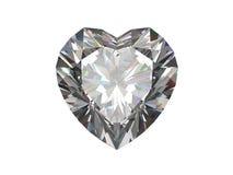 белизна формы диаманта osolated сердцем Стоковая Фотография