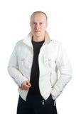 белизна фото человека куртки стоковое изображение