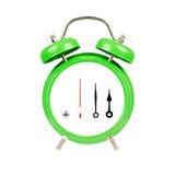 белизна часов сигнала тревоги классицистическим изолированная зеленым цветом Стоковая Фотография