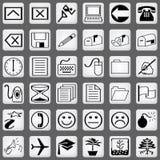 белизна части 3 икон установленная Стоковое Изображение RF
