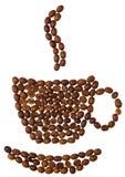 белизна чашки coffeebeans предпосылки Стоковое Изображение RF