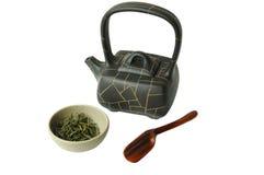 белизна чая предпосылки изолированная фарфором установленная Стоковая Фотография RF