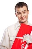 белизна человека подарка изолированная удерживанием ся Стоковая Фотография RF